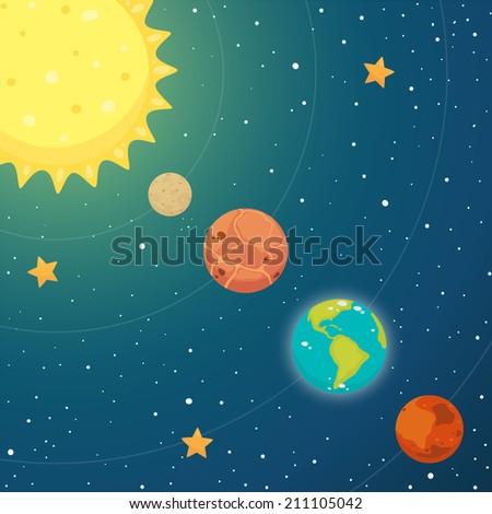 Space. Inner planets: mercury, venus, earth, mars. Vector. - stock vector
