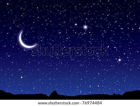 Space landscape with silhouette mountains and crescent moon - stock vector