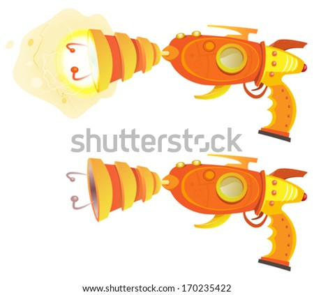 Space Laser Ray Gun/ Illustration of a funny retro scifi space laser raygun, off and on with atomic power energy field - stock vector