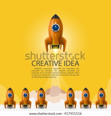 Space leader rocket launch, Creative idea, Vector illustration - stock vector