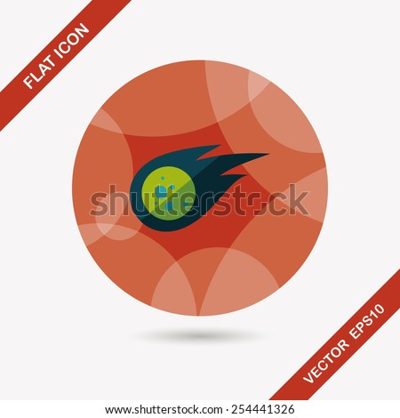 Space Meteorite flat icon with long shadow,eps10 - stock vector