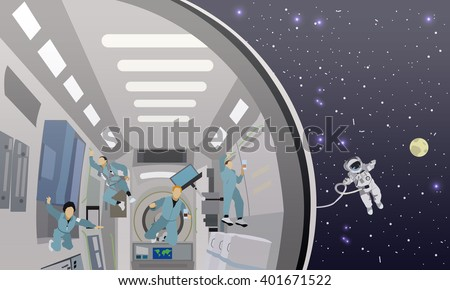 Space mission concept vector illustration. Astronauts in space station and outer space. cosmonauts flying in no gravity space. - stock vector