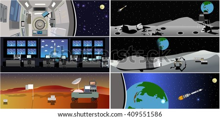 Space mission control center. Rocket launch vector illustration. Space station and outer space. Landing to Mars landscape concept. - stock vector