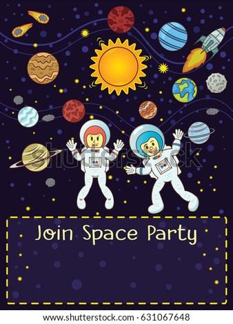 Space Party Invitation Card Astronauts Rocket Stock Vector HD