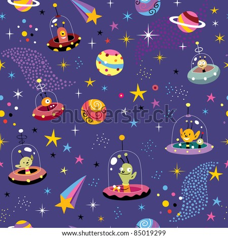 space pattern with cute aliens - stock vector