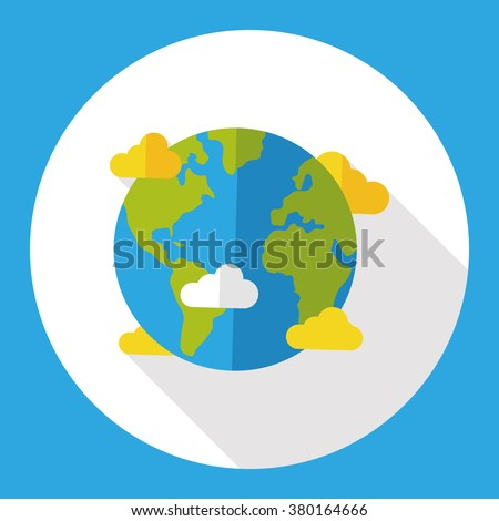 Space planet earth flat icon - stock vector