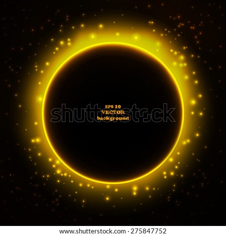 Space planet in the rays of light. Vector background. - stock vector