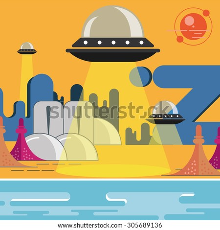 Space planet UFO illustration city of the future UFO is landing alien settlement - stock vector
