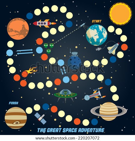 Space quest game with start finish and astronomy icons on background vector illustration - stock vector