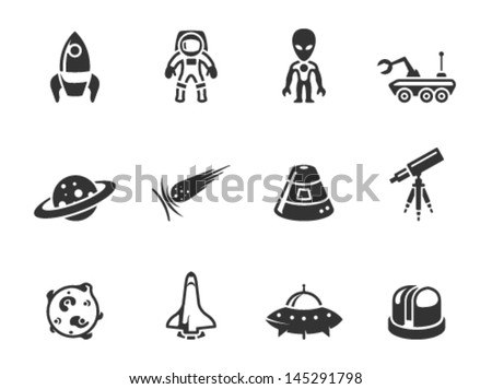 Space related icons in single color