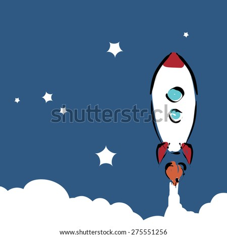 Space rocket flying in space with stars on background. vector illustration - stock vector