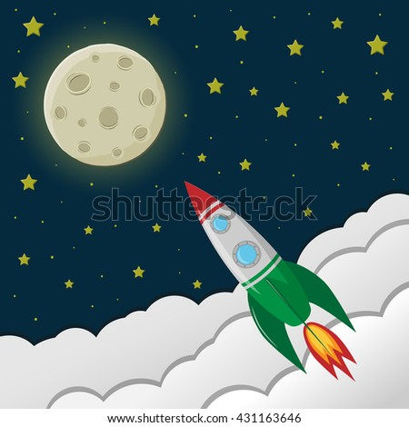 Childs Drawing Rocket Outer Space Near Stock Vector ...