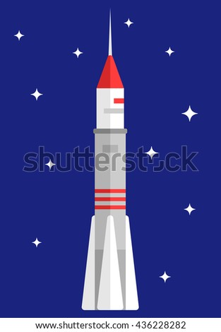 Space rocket in space with stars on background. Flat vector illustration - stock vector