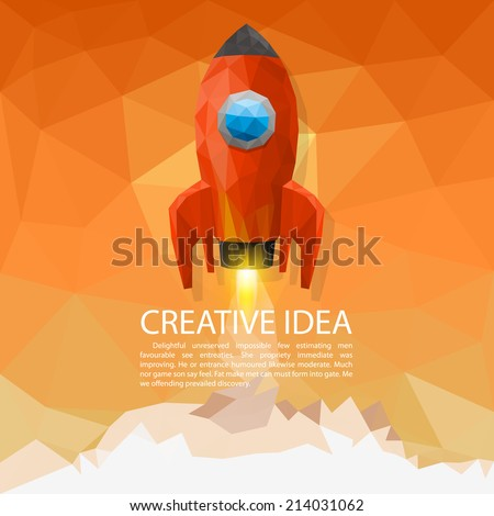 Space rocket launch 3d polygon. Vector illustration - stock vector