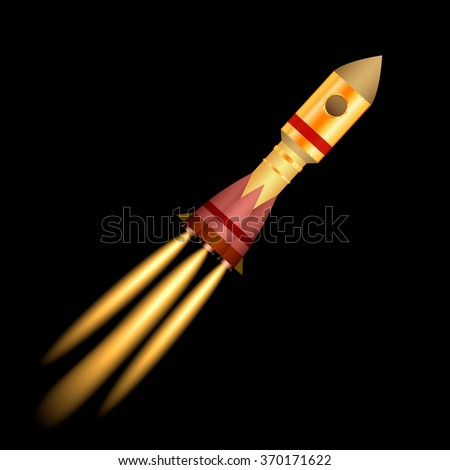 Space rocket launch isolated on black background. Vector illustration  - stock vector
