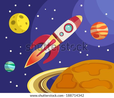 Space rocket ship flying in space with planets and stars on background print vector illustration - stock vector