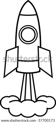 Space rocket (Vector illustration) - stock vector
