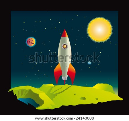Space rocket visiting a planet deep in space - stock vector