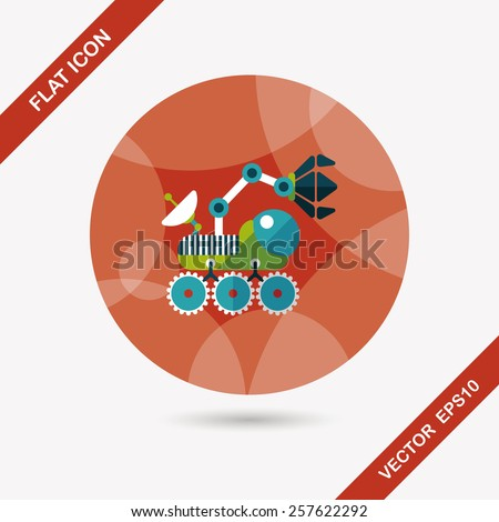 Space Rover flat icon with long shadow,eps10 - stock vector
