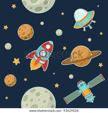 Space Seamless Pattern - stock vector