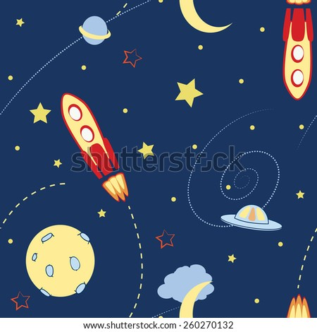 space seamless pattern with rocket and planet eps10