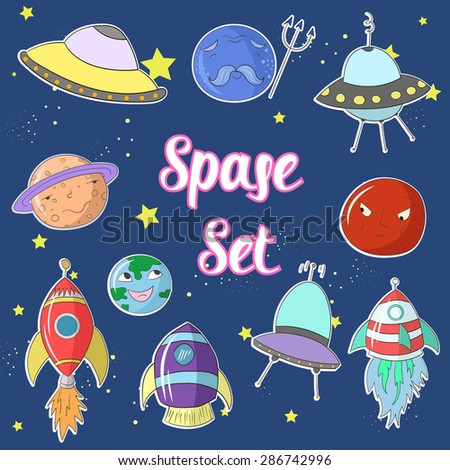 Space set cartoon UFO planets rockets vector illustration