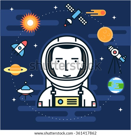 Space set elements, astronaut in a space suit, planets and comets, sun, moon, ring of Saturn, rocket and flying saucer, satellite and telescope on dark background. Vector illustration for your design - stock vector