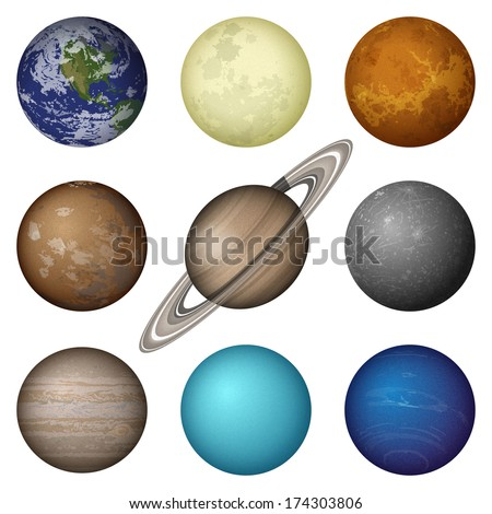 Space set of isolated planets of Solar System - Mercury, Venus, Earth, Mars, Jupiter, Saturn, Uranus, Neptune and Moon. Elements of image furnished by NASA. Eps10, contains transparencies. Vector - stock vector