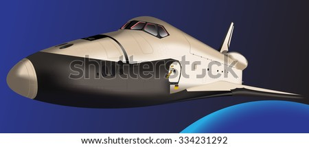 Space Shuttle flying in space. Vector. Elements of this image furnished by NASA - stock vector