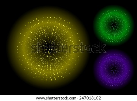 Space sparks spray shiny explosions set. Yellow, green, purple color. Vector clip art isolated on black - stock vector