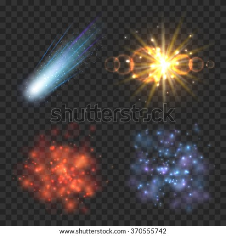 Space stars, comet and explosion on transparence checkered background. Star light, explosion comet, star galaxy, nebula and explosion meteor illustration - stock vector