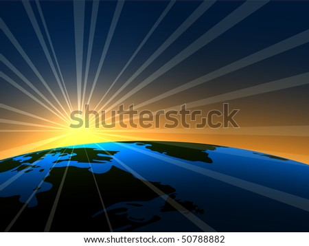 Space sunrise over Earth background. EPS10 file. - stock vector