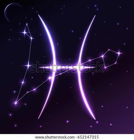 Space Symbol Pisces Zodiac Horoscope Concept Stock Vector 652147315