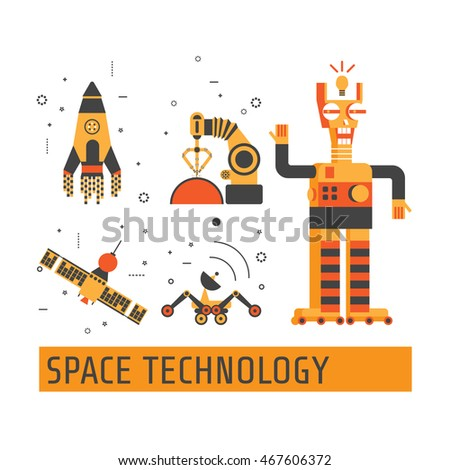 Space technology set.  Icons for robotics.  Technology and artificial intelligent robot. Can be used for Web Project and Applications. Vector Illustration.