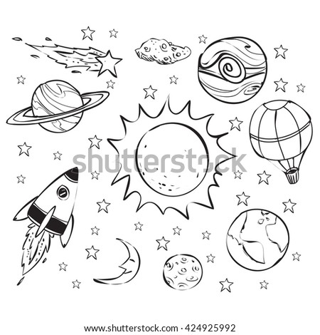 Space theme doodle. - stock vector