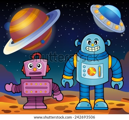 Space theme with robots 2 - eps10 vector illustration. - stock vector