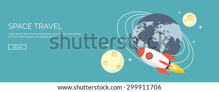 Space travel. Rocket ship and earth. - stock vector