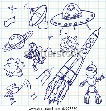 Space (UFO and aliens) doodles set - stock vector