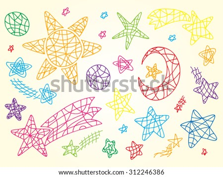 Space. Vector doodle Set of Colorful Sun, Moon (Crescent), Stars, Comets