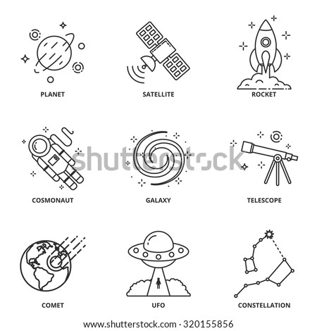 Space vector icons set modern line style - stock vector