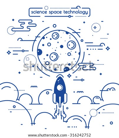 Space vector landscape illustration in linear style - rocket launch to the moon. Science and exploring concept illustration  - stock vector