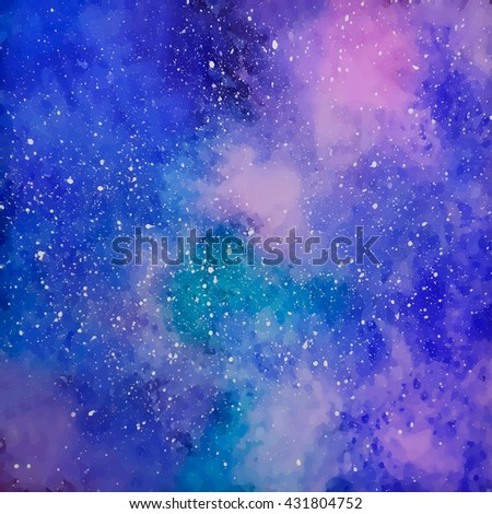 Space with many stars. Starry sky. Watercolor background. Hipster background. Vector illustration.