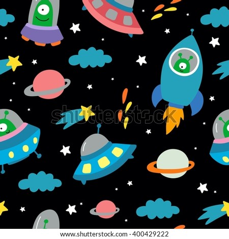 space with planets and spaceships vector seamless pattern
