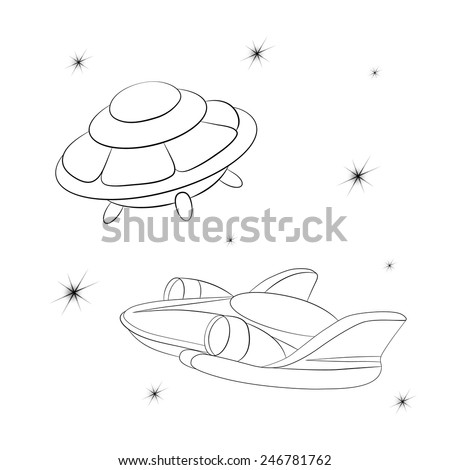 Spacecraft against the starry cosmos. Coloring book. - stock vector