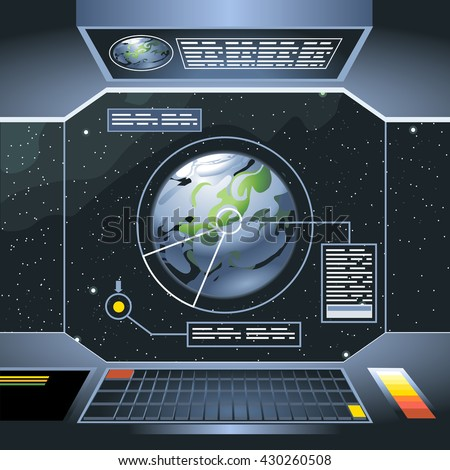 Spacecraft Interior View And Window To Space And Planet. Board With  Computers And Screen With