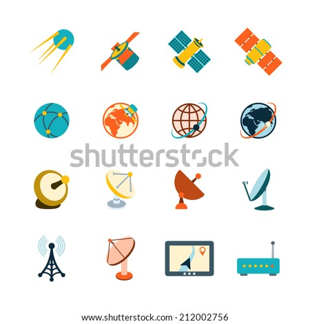 Spacecraft solar panels power satellite navigation global position system technology pictograms collection flat abstract isolated vector illustration - stock vector