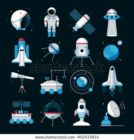 Spacecrafts flat icons set with cosmonaut space suit and equipment with black background poster abstract vector illustration - stock vector
