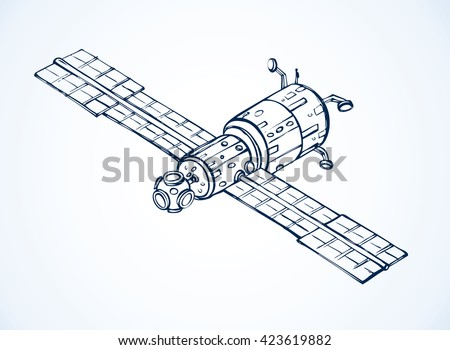 Spaceflight radio wave robot model isolated on white background. Freehand outline ink hand drawn picture sketch in art scribble style pen on paper with space for text on sky - stock vector