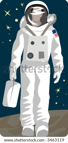 Spaceman vector illustration series. Check my portfolio for much more of this series as well as thousands of other great vector items. - stock vector