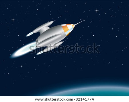Spaceship fly past a planet - stock vector